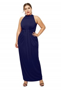 High Neck Sleeveless Navy Blue Jersey Sheath Spring Fall Plus Size Woman Clothing Maxi Casual Dress