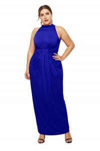 High Neck Sleeveless Royal Blue Jersey Sheath Spring Fall Plus Size Woman Clothing Maxi Casual Dress
