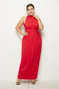 High Neck Sleeveless Red Jersey Sheath Spring Fall Plus Size Woman Clothing Maxi Casual Dress