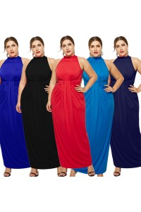 High Neck Sleeveless Black Jersey Sheath Spring Fall Plus Size Woman Clothing Maxi Casual Dress