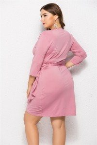 Romantic V Neck 3 4 Sleeve Pink Jersey Mini Summer Beach Plus Size Women Clothing Casual Dress