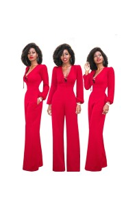 Sexy Tie V Neck Long Sleeve Red Wide Leg Women Jumpsuit