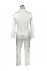 Sexy White Long Sleeve Club Two Piece Women Suit