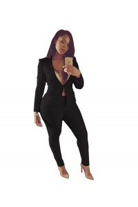 Sexy Black Long Sleeve Club Two Piece Women Suit