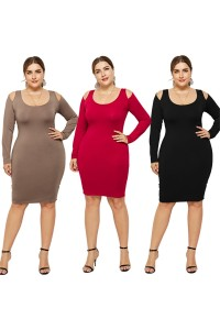 Sexy Cold Shoulder Long Sleeve Taupe Jersey Short Mini Sheath Summer Beach Plus Size Woman Casual Dress