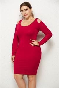 Sexy Cold Shoulder Long Sleeve Burgundy Jersey Short Mini Sheath Summer Beach Plus Size Woman Casual Dress