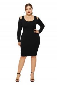 Sexy Cold Shoulder Long Sleeve Black Jersey Short Mini Sheath Summer Beach Plus Size Woman Casual Dress