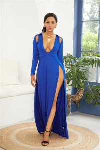 Sexy Deep V Neck High Slit Royal Blue Jersey Clothing Cut Out Maxi Woman Casual Dress