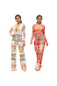 Sexy Deep V Neck Long Sleeve Wide Leg Pants Woman Clothing Printed Jumpsuit