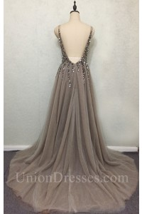 Sexy Deep V Neck Low Back Long Taupe Tulle Beaded Prom Dress With Slit