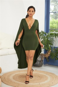 Sexy Deep V Neck Olive Green Jersey Short Mini Woman Clothing Sheath Party Cocktail Dress With Cape