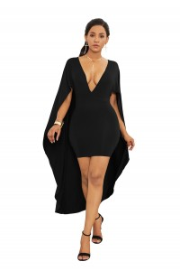Sexy Deep V Neck Short Mini Woman Clothing Sheath Party Cocktail Dress With Cape