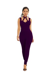 Sexy Halter Low Back Grape Jersey Cut Out Clothing Woman Party Special Occasion Jumpsuit