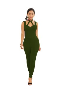 Sexy Halter Low Back Olive Green Jersey Cut Out Clothing Woman Party Special Occasion Jumpsuit