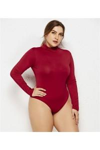 Sexy High Neck Long Sleeve Burgundy Jersey Woman Clothing Beach Plus Size Jumpsuit Bikini