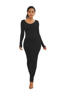 Sexy Long Sleeve Black Jersey Maxi Woman Clothing Spring Fall Casual Dress