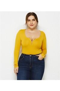 Sexy Long Sleeve Yellow Jersey Clothing Summer Beach Woman Plus Size Jumpsuit Bikini With Zipper