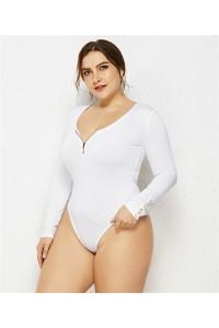 Sexy Long Sleeve White Jersey Clothing Summer Beach Woman Plus Size Jumpsuit Bikini With Zipper