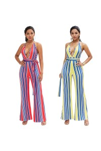 Sexy Striped Beach Summer Woman Clothing Halter Backless Jumpsuit Wide Leg Pants