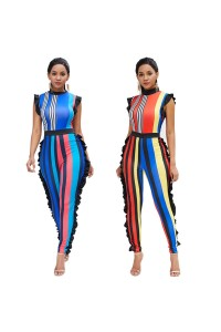 Sexy Striped Beach Summer Woman Clothing High Neck Jumpsuit With Ruffles