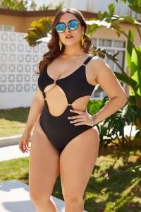Sexy Swimsuit Women One Piece Swimwear Cut Out Bodysuit Plus Size Beachwear