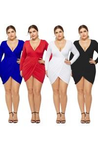 Sexy V Neck Long Sleeve Red Jersey Short Mini Sheath Summer Beach Plus Size Women Clothing Casual Dress