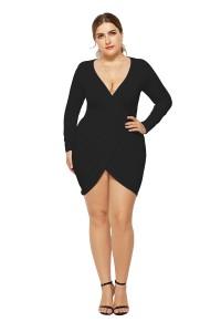 Sexy V Neck Long Sleeve Black Jersey Short Mini Sheath Summer Beach Plus Size Women Clothing Casual Dress