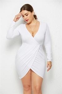 Sexy V Neck Long Sleeve White Jersey Short Mini Sheath Summer Beach Plus Size Women Clothing Casual Dress