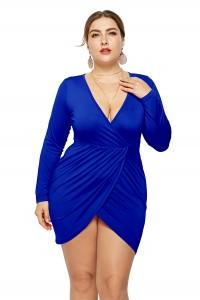 Sexy V Neck Long Sleeve Royal Blue Jersey Short Mini Sheath Summer Beach Plus Size Women Clothing Casual Dress