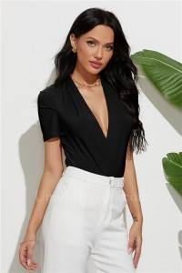 Sexy V Neck Short Sleeves Women Rompers Jumpsuit 2020 Casual One-pieces Bodysuits