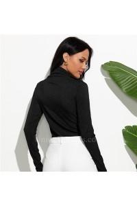 Shining High Neck Long Sleeve Bodysuit Casual Black Slim Body Top Sexy Women 2020 Romper