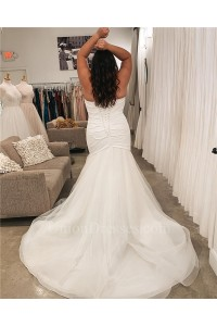 Simple Mermaid Strapless Corset White Taffeta Tulle Ruched Plus Size Wedding Dress