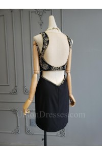 Sparkly Short Mini Beaded Little Black Prom Cocktail Dress With Open Back