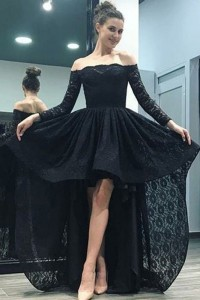 Special High Low Black Lace Prom Evening Dress Off The Shoulder Long Sleeves