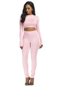 Stretch High Neck Long Sleeve Two Piece Bodycon Yoga LIGHT PINK Jumpsuit