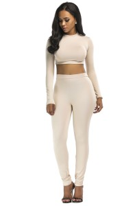 Stretch High Neck Long Sleeve Two Piece Bodycon Yoga Champagne Jumpsuit