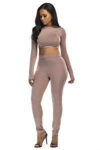 Stretch High Neck Long Sleeve Two Piece Bodycon Yoga Brown Jumpsuit