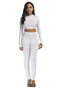 Stretch High Neck Long Sleeve Two Piece Bodycon Yoga Silver Jumpsuit