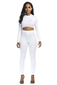 Stretch High Neck Long Sleeve Two Piece Bodycon Yoga White Jumpsuit