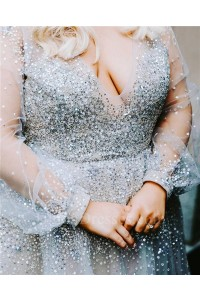Stunning A Line V Neck Long Sleeves Open Back Beaded Plus Size Wedding Dress Without Lace