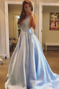 Stunning Light Blue Ball Gown Prom Quinceanera Dress V Neck Open Back With Court Train