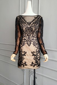 Stunning Short Mini Sheath Cocktail Prom Evening Dress Champagne Lining Black Lace