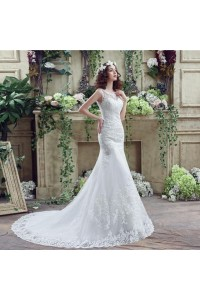 Trumpet Mermaid Scalloped Neck Lace Wedding Dress With Train