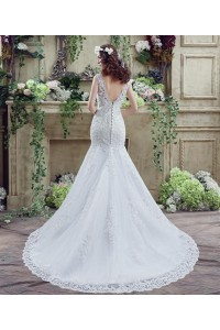 Trumpet Mermaid Low Back Lace Wedding Dress With Train