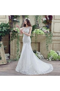 Trumpet Mermaid Scalloped Neck Lace Wedding Dress