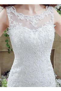 Scalloped Neck Lace Wedding Dress