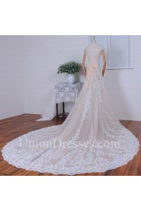 Chic Mermaid V Neck Cap Sleeve Low Back Crystal Beaded Lace Wedding Dress With Bow