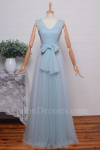 Elegant A Line V Neck Bow Sash Pleated Light Blue Tulle Bridesmaid Evening Dress