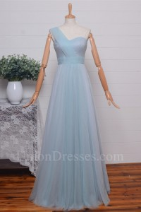 Elegant A Line Sweetheart One Shoulder Pleated Light Blue Tulle Bridesmaid Evening Dress