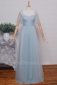 Elegant A Line Sweetheart Spaghetti Straps Cap Sleeve Pleated Light Blue Tulle Bridesmaid Evening Dress